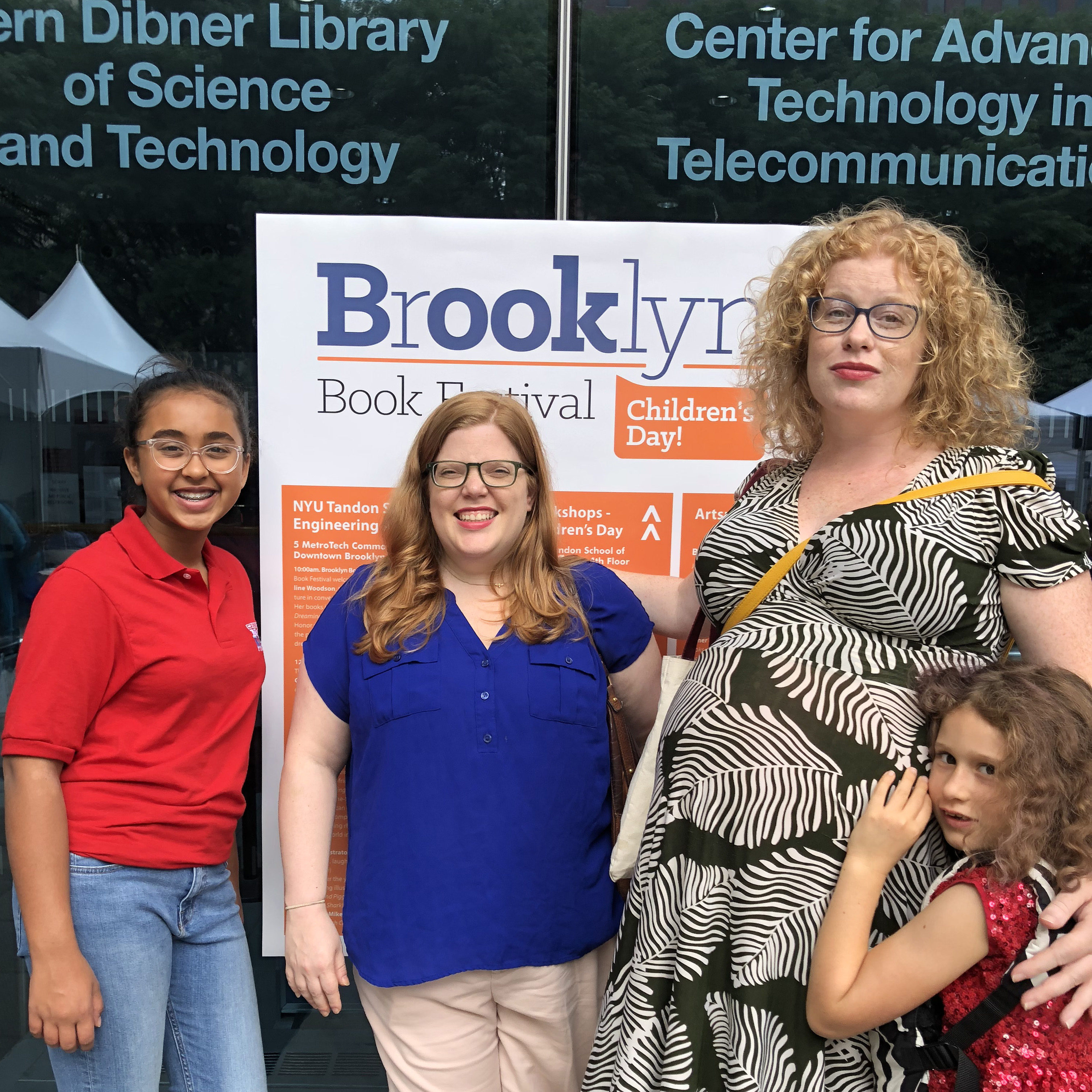Sunaya with Meg Lemke and Jenny Abramowitz, members of the Children's and YA planning committee of the Brooklyn Book Festival