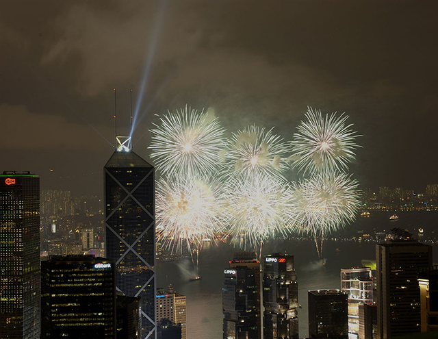 A Lunar New Year fireworks display in Hong Kong, which is an autonomous territory in southeastern China