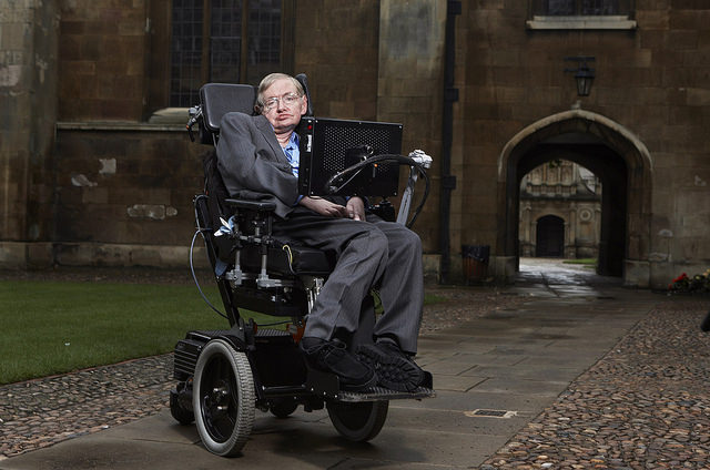 Stephen Hawking at Gonville & Caius College, Cambridge.