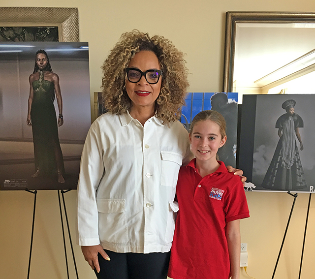 Alula with Black Panther costume designer Ruth E. Carter at the recent press event for the movie in Los Angeles