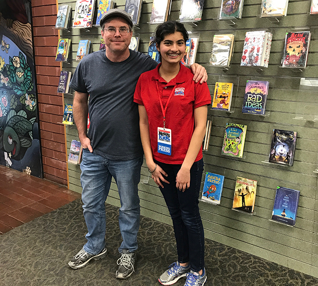 Manat with science-fiction writer Andy Weir at the Sunnyvale Public Library in California
