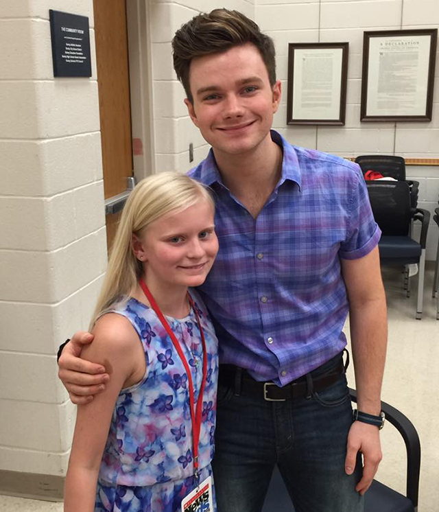 Evelyn with Chris Colfer at Bexley High School in Columbus, Ohio
