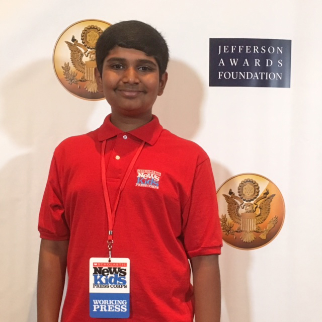 Kid Reporter Manu Onteeru at the 2016 Jefferson Awards
