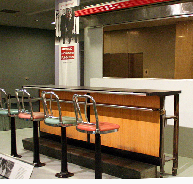 Counter segment where Greensboro students staged a civil rights sit-in protest on display in the National Museum of American History in Washington DC.