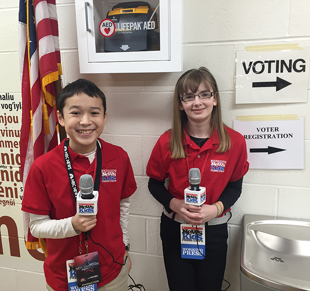 Maxwell Surprenant and Kaitlin Clark at a polling place