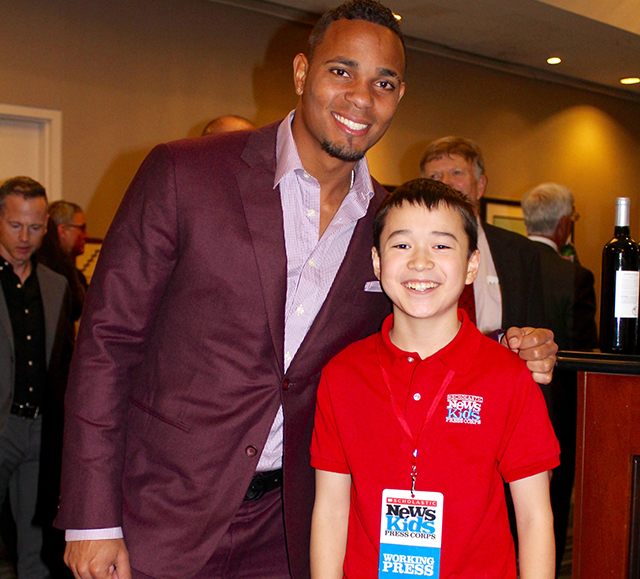 1360 Max with Red Sox player Xander Bogaerts at the Boston Baseball Writers Dinner