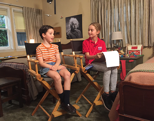 Alula on the set of Young Sheldon with star Iain Armitage