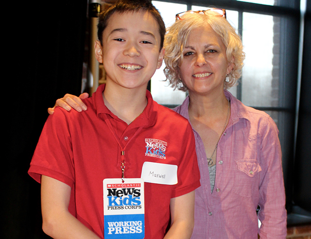 Maxwell with author Kate DiCamillo at An Unlikely Story in Plainville, Massachusetts