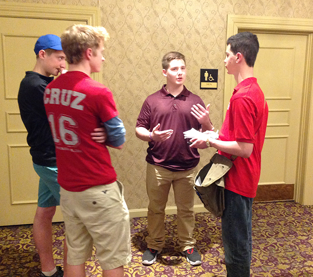 """Michael McIntyre (age 16), Sam Hiller (age 16) and Casey Krieger (age 16) talk to Erik about why they are supporting Cruz. """"He really cares."""""""