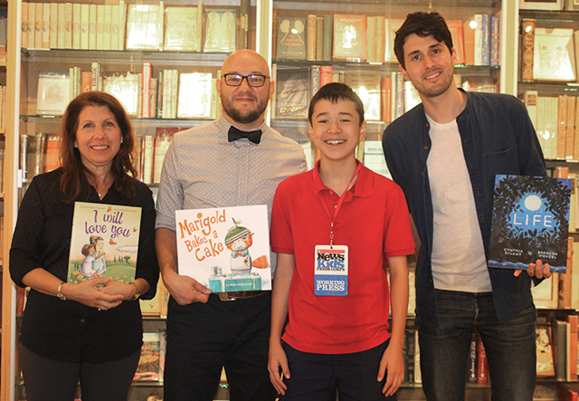 Max with picture book authors and illustrators at Books of Wonder in New York (left to right: Alyssa Satin Capucilli, Mike Malbrough, Max, and Brendan Wenzel)