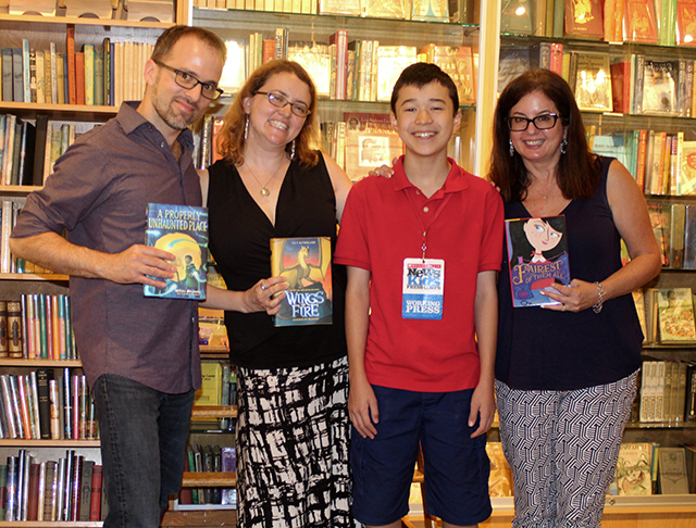 Max and middle grade fantasy authors at Books Of Wonder in New York (left to right: William Alexander, Tui T. Sutherland, Max, and Sarah Darer Littman)