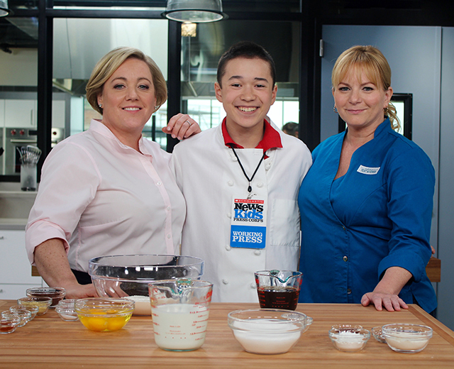 Maxwell with America's Test Kitchen co-hosts Julia Collin Davison and Bridget Lancaster at their studio in Boston, Massachusetts
