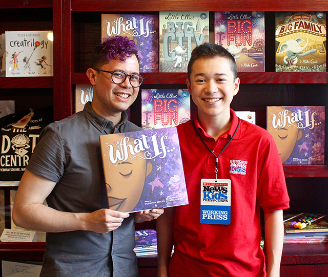 Maxwell with Mike Curato at Blue Bunny Books in Dedham, Massachusetts