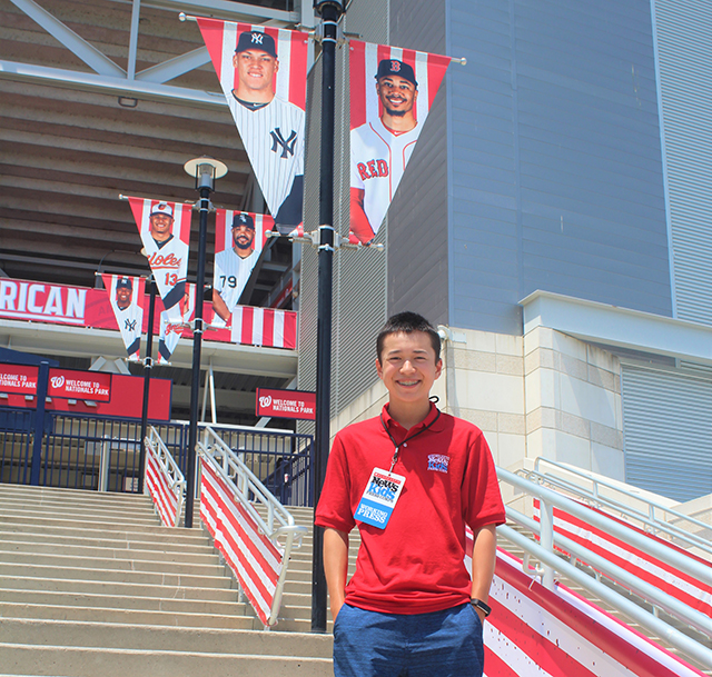 Max getting ready to cover the MLB Home Run Derby at Nationals Park in Washington DC