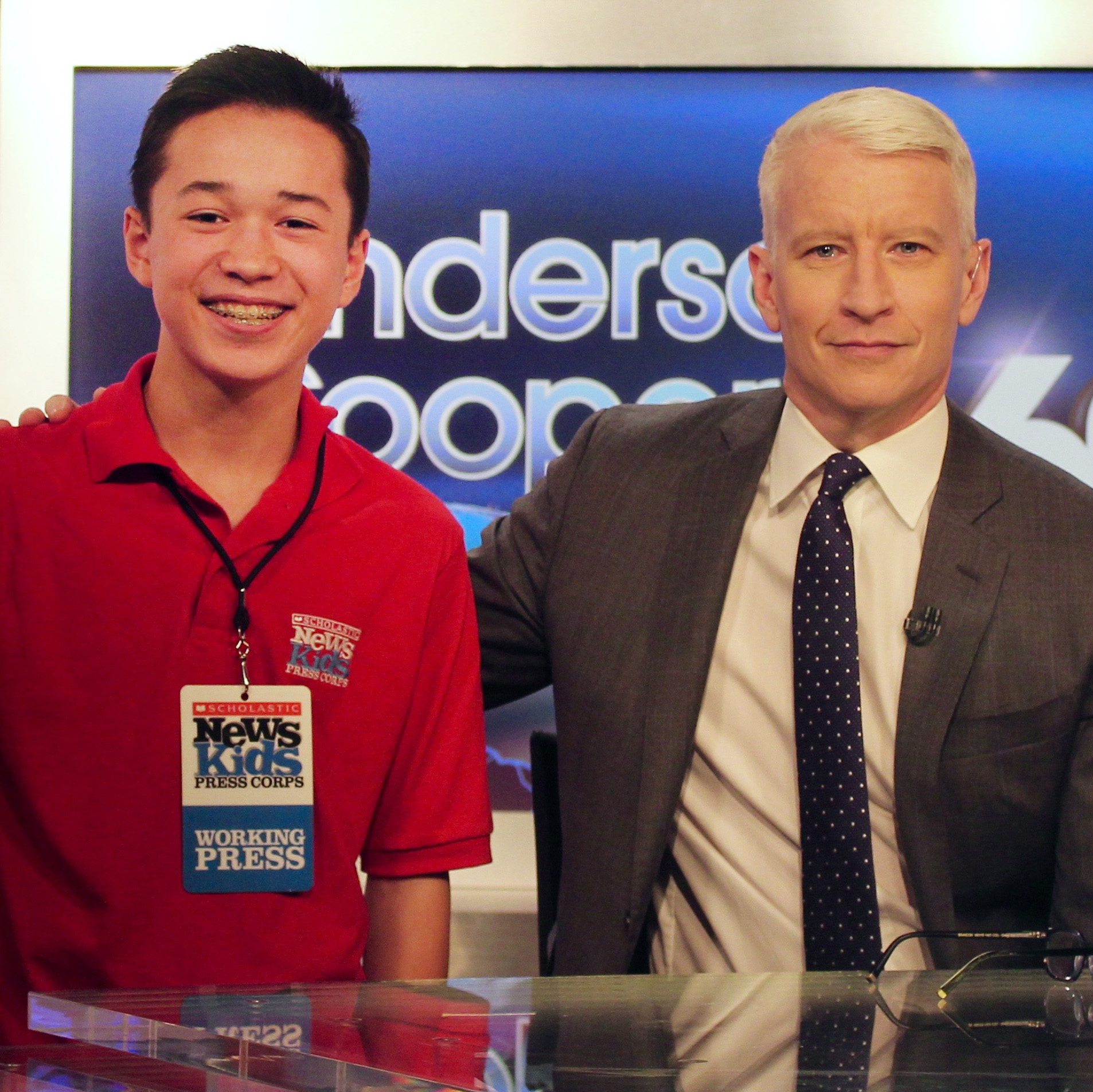 Max with Anderson Cooper on the set of Anderson Cooper 360 in New York City