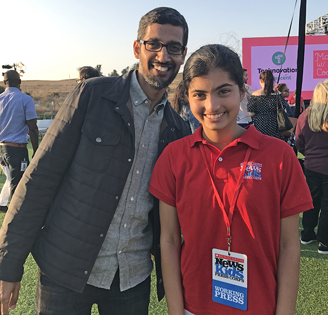 Manat Kaur with Google CEO, Sundar Pichai.