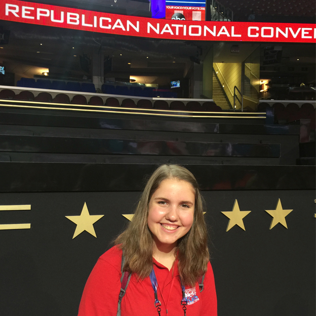 Kyra on the floor of the Quicken Loans Arena during the Republican National Convention