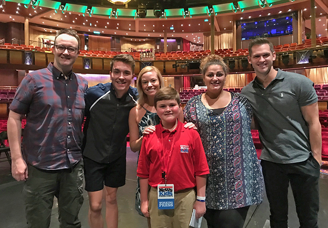 Nolan with cast members of Mamma Mia! on Royal Caribbean's Allure of the Seas