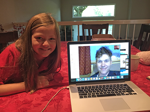 Annika Petras, Kid Reporter, with Simon Watt, founder of the Ugly Animal Preservation Society.