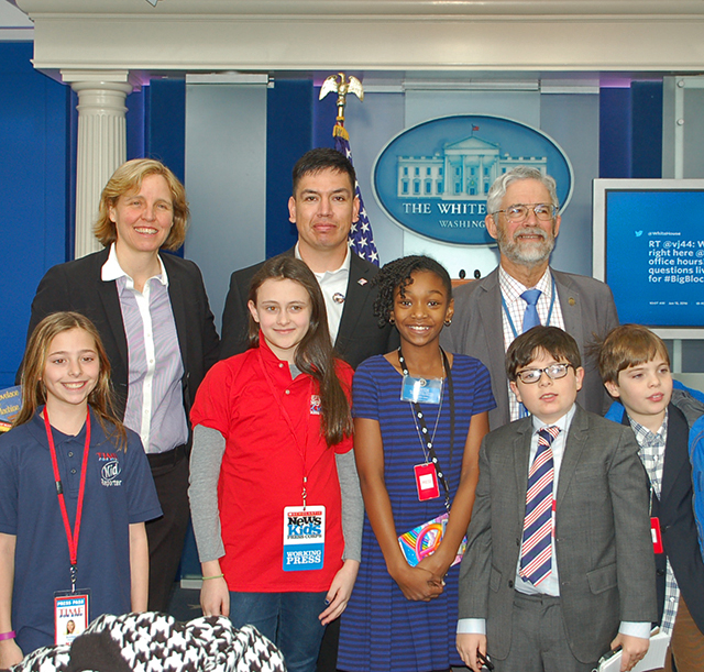 Courtney (front row, second from left) with other young reporters and STEM experts on January 13 at the White House