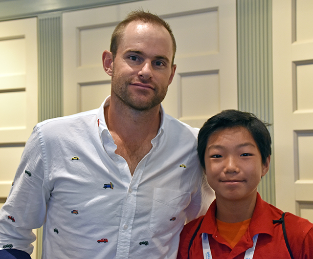 Stone with retired tennis great Andy Roddick at the Hall of Fame induction in Newport, Rhode Island, photo courtesy of the author