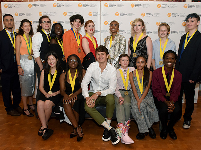 Actor Ansel Elgort (Baby Driver, The Fault in Our Stars) poses with Gold Medal Portfolio recipients backstage at the 2018 Scholastic Art & Writing Awards National Ceremony at Carnegie Hall in New York City.