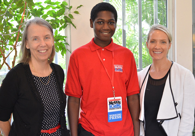 U.S. Ambassador to Benin Lucy Tamlyn, Kid Reporter Caleb Biney and Fox News commentator Dana Perino in Benin, West Africa