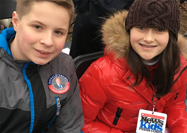 Kid Reporter Courtney Pine with Trump supporter Demetrius Apostolis, 13, of Flemington, New Jersey