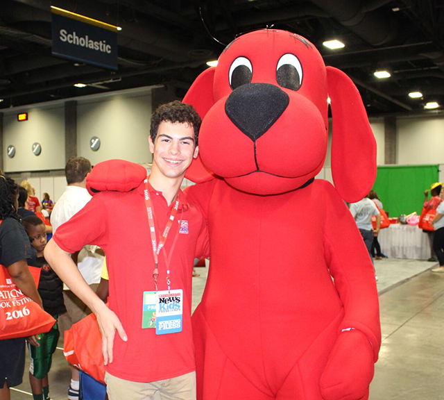 Erik with Clifford the Big Red Dog