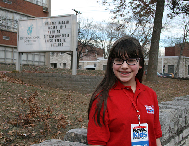 Esther outside of the International Institute, St. Louis, Missouri
