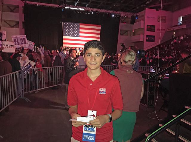 Gabe at a Trump rally in Bangor, Maine