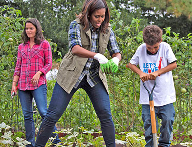 First Lady Michelle Obama helps a boy dig up sweet potatoes in the White House garden.