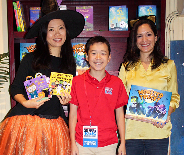 Max with children's illustrator Jannie Ho and children's author Anika Denise at The Blue Bunny Bookstore in Dedham, Massachusetts