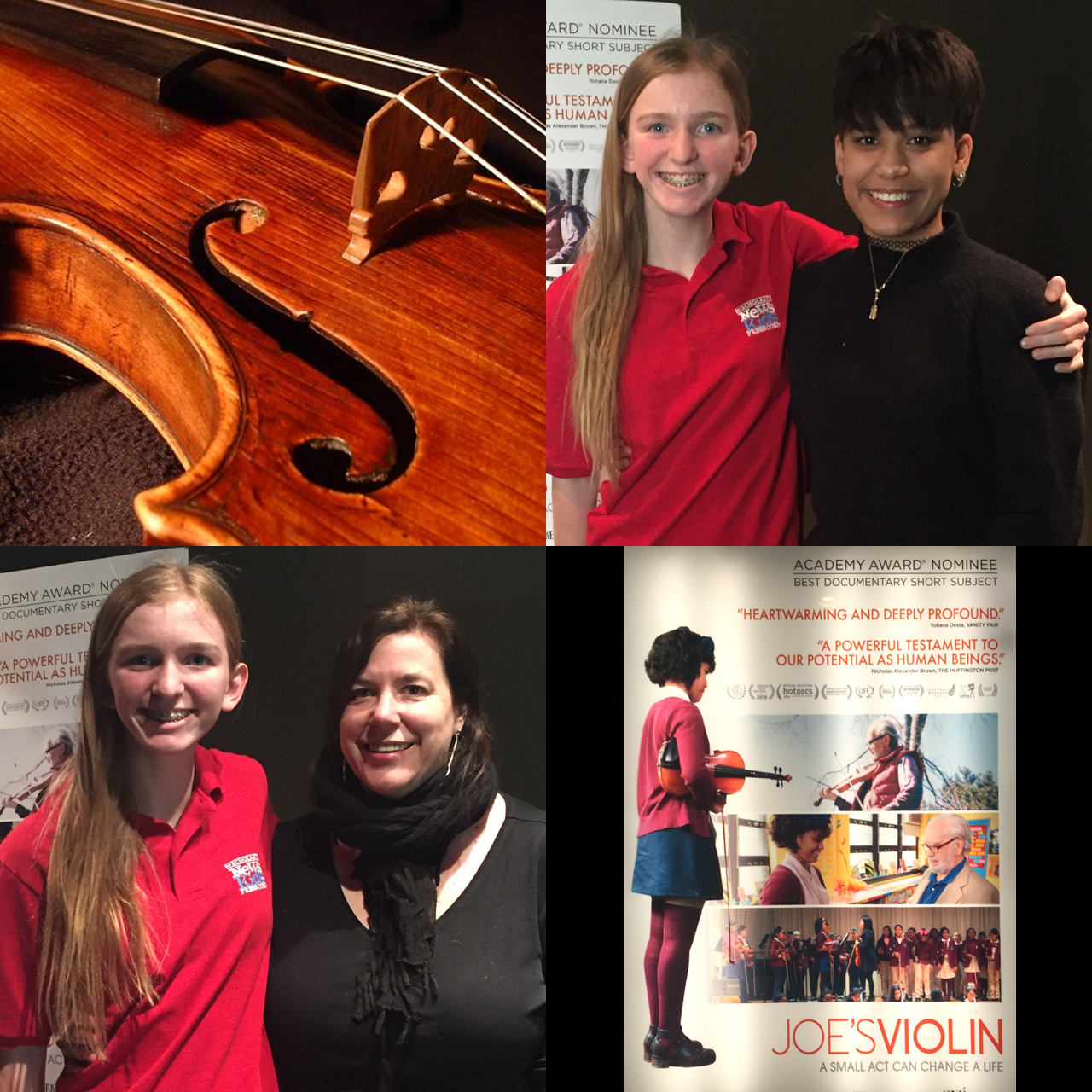 Top right, Skylar with Brianna Perez, bottom left, Skylar with Kathleen Drohan, bottom right, Joe's Violin movie poster