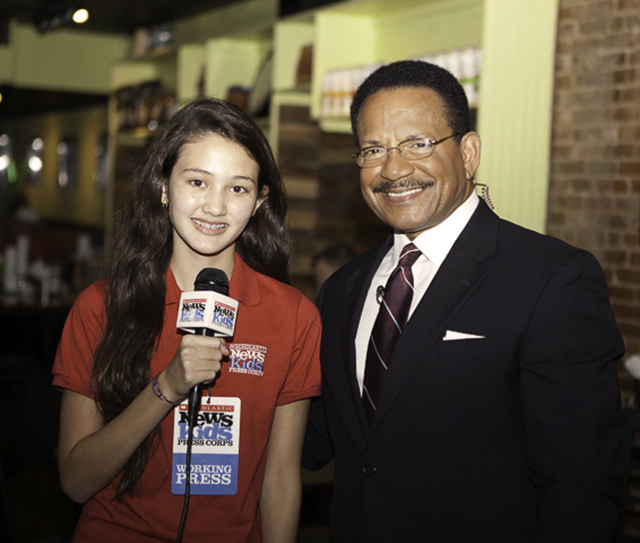 Charlotte with journalist Bruce Johnson