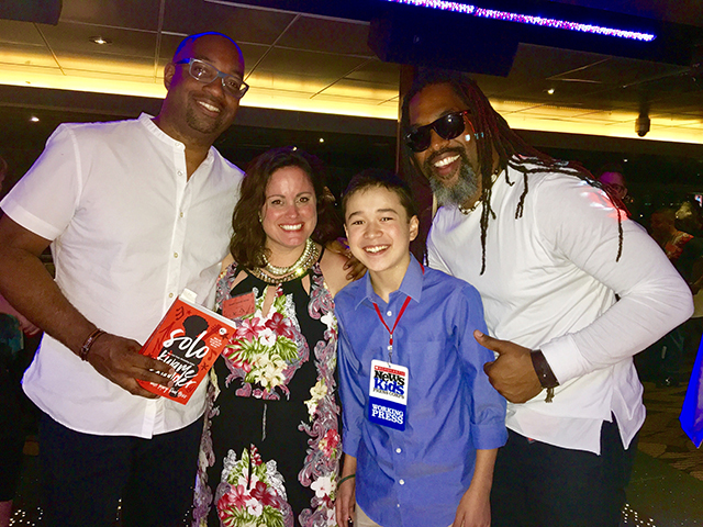 Max with Kwame Alexander, Mary Rand Hess, and Randy Preston on board the Odyssey for the Solo book launch in Chicago, Illinois.
