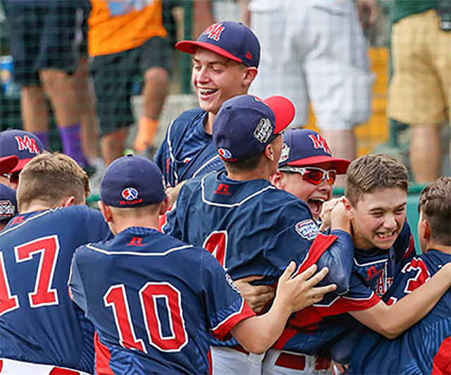 Members of the Maine-Endwell team celebrate after defeating South Korea in the 2016 Little League World Series championship game.