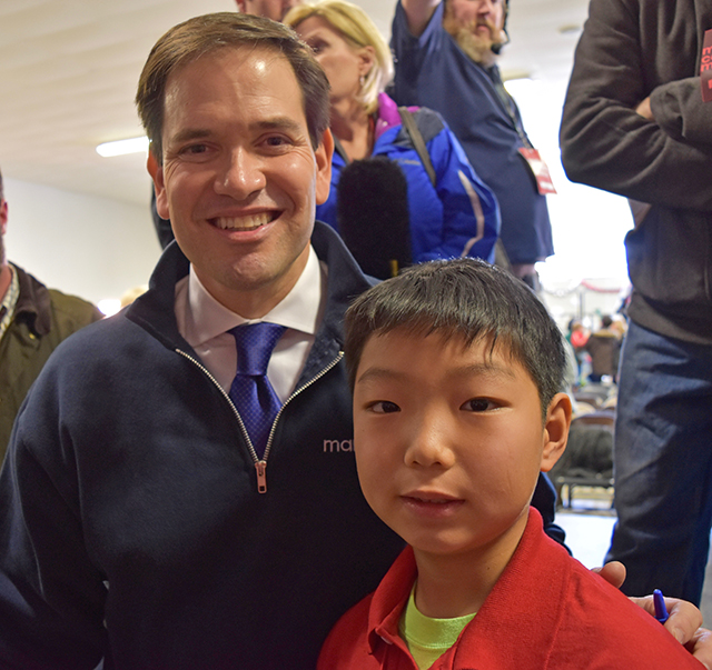 Senator Marco Rubio and Stone Shen at a Town Hall event at McKelvie Intermediate School in Bedford, New Hampshire.