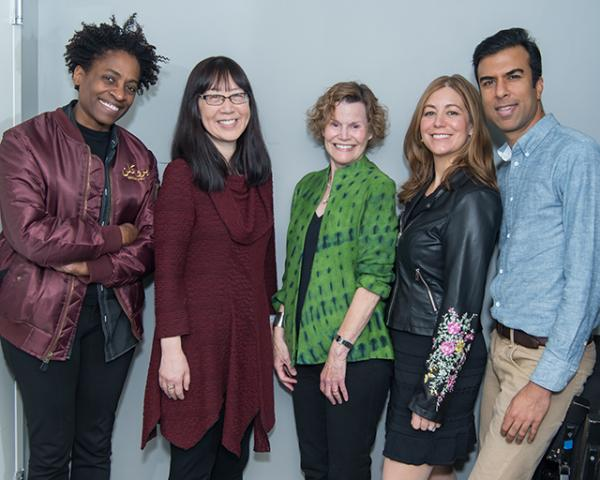 Jacqueline Woodson, Debbie Ridpath Ohi, Judy Blume, Rachel Vail, and Soman Chainani celebrate Blume's life at Symphony Space in New York City.