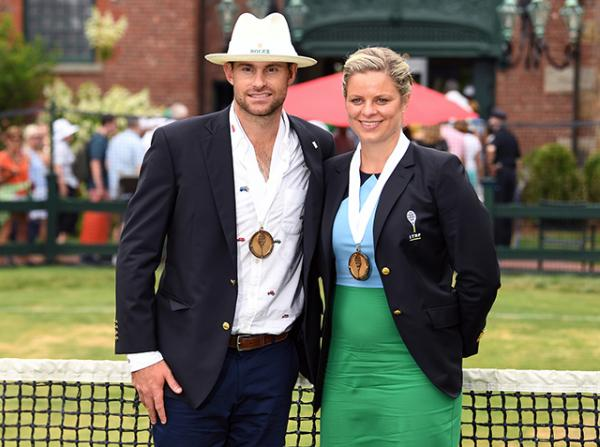 Andy Roddick and Kim Clijsters at the Hall of Fame induction, photo by Ben Solomon/ITHF