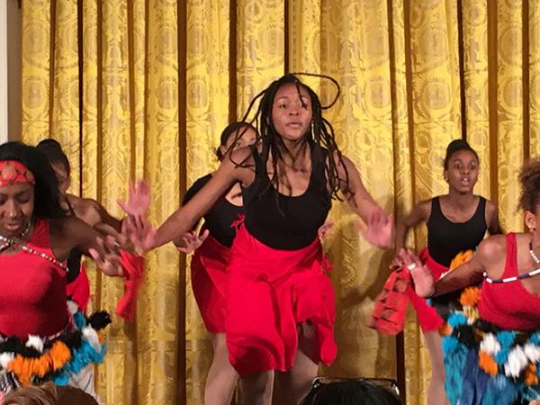 Girls performing a dance choreographed by Debbie Allen
