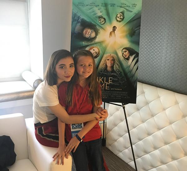 Rowan Blanchard, who plays Veronica is sitting with  Annika Petras.