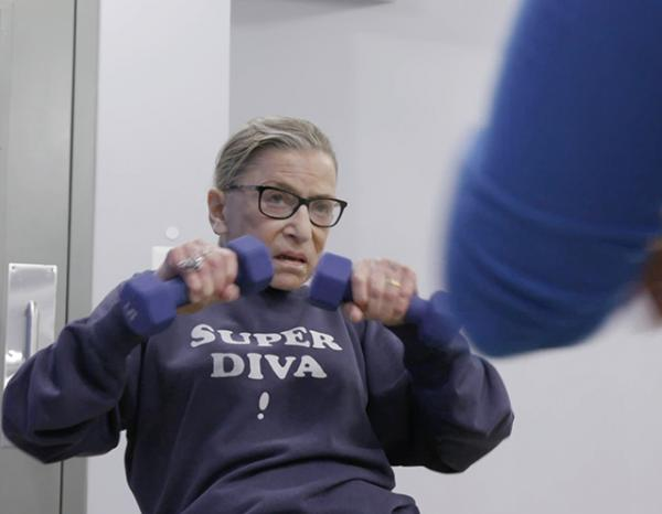 Justice Ginsburg mid workout routine in RBG