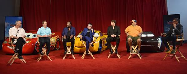 "(L-R) Producer Kevin Reher, director Brian Fee, actors Kerry Washington, Armie Hammer, Cristela Alonzo, Owen Wilson, and Ray Evernham speak at the ""Cars 3"" Press Conference at Anaheim Convention Center on June 10, 2017 in Anaheim, California. (Photo by Alberto E. Rodriguez/Getty Images for Disney)"
