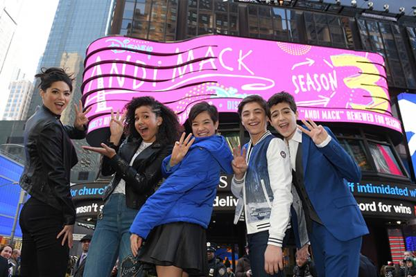Cast members of Disney's Andi Mack celebrate the show's renewal for another season.