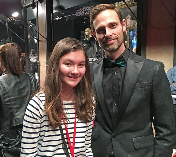 Charlotte with the author of the book, Ransom Riggs