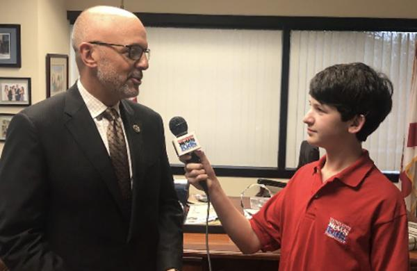 Ben talks with Florida Congressman Ted Deutch in his Boca Raton office.
