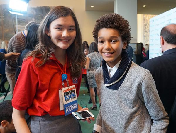 "Charlotte with actor Jaden Michael, who hosted the World Children's Day ""takeover"" at the UN"