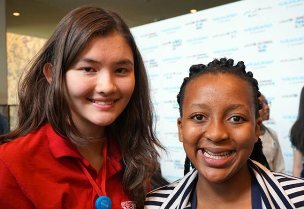 Charlotte with Lathitha Beyile, 14, an activist from Soweto, South Africa