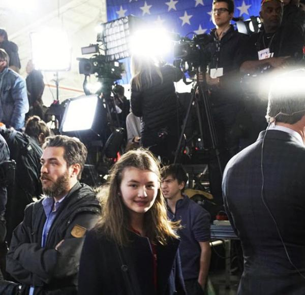 Charlotte with members of the press